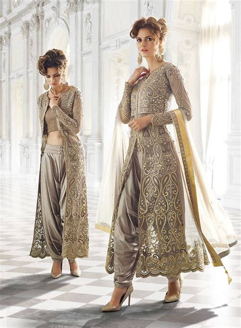 design net clothes grey designer wear indian dhoti style anarkali suit in net