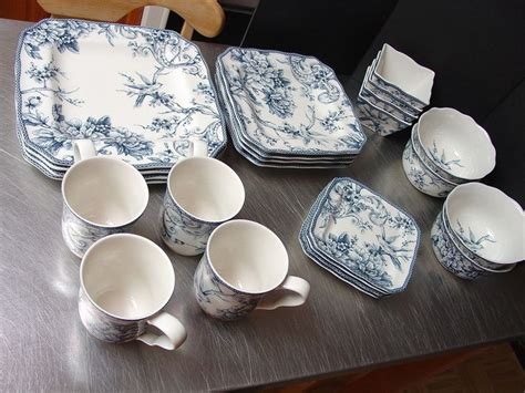 24 pc Adelaide Blue Dishes 222 Fifth French Toile Birds