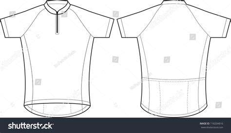 Front Back Vector Cycling Jersey Template Stock Vector 118204816 Shutterstock Cycling Jersey Design Template