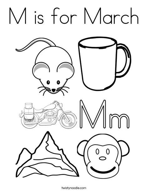 preschool coloring pages for march m is for march coloring page twisty noodle