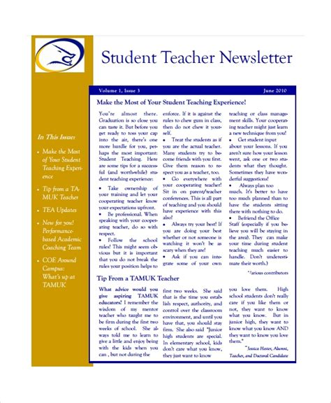 7 Teacher Newsletter Templates Sle Templates Weekly Email Newsletter Template