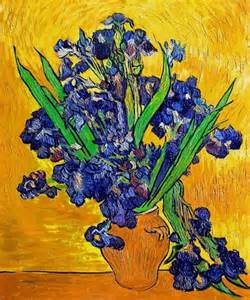 vincent gogh vase with irises against a yellow