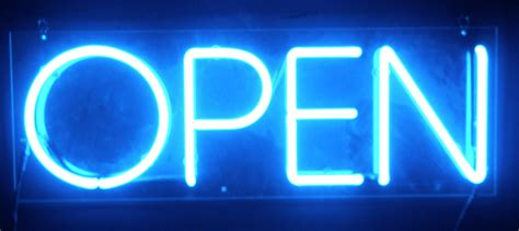 is open let there be neon illuminated and non illuminated signs