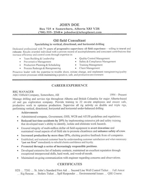 oil field job resume sle by cando career coaching