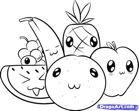 Kawaii Fruit Coloring Pages | cute kawaii food coloring pages coloring home