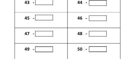 printable numbers 1 50 worksheets 14 best images of write to 50 worksheet more than less