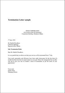 Exle Of Termination Letter To Employee by Termination Letter Sle Exle Template And Format