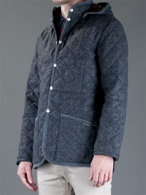 lavenham husky quilted jacket in gray for grey lyst