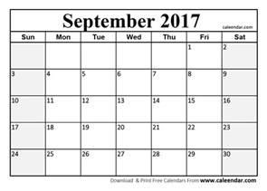 Blank September Calendar September 2017 Calendar Page Blank Calendars 2017