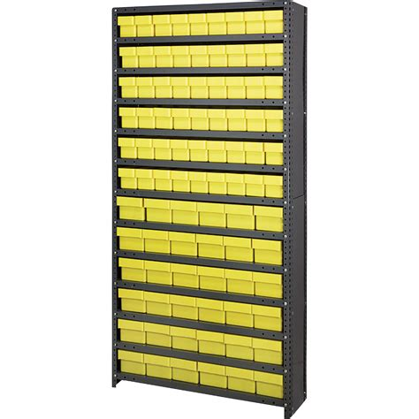 quantum storage closed shelving unit with 90 bins 36in