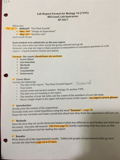 How To Report Someone On Section 8 by Lab Report Format For Biology 10 7295 Bill Chegg