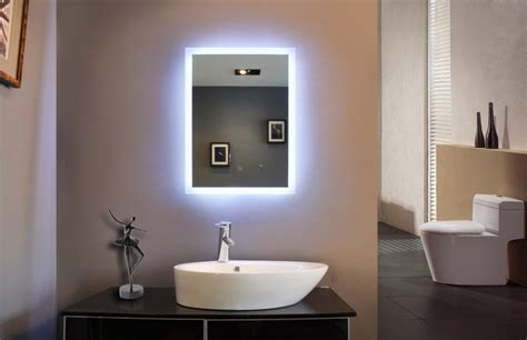 bathroom mirror with light powerful reflection of illuminated bathroom mirror