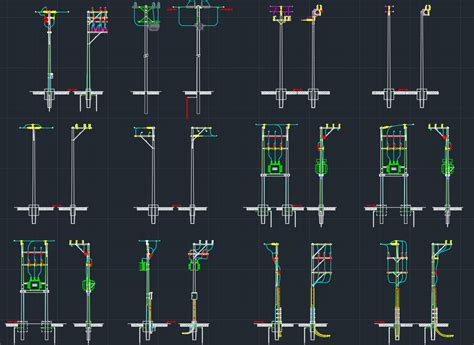 electric light pole electric pole free cad blocks and cad drawing