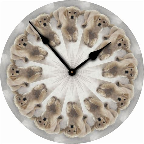 clock made of clocks golden retriever dog wall clock 10 quot round wood made in usa