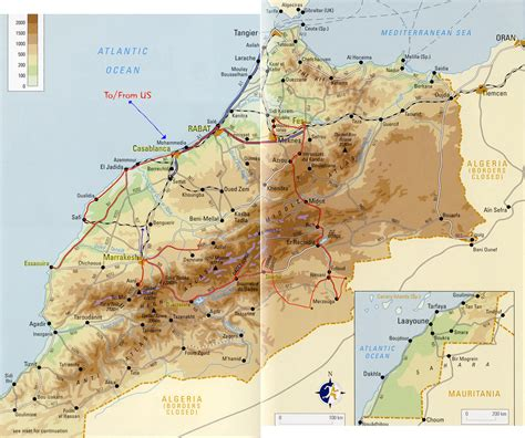 physical map of morocco detailed physical map of morocco with roads morocco