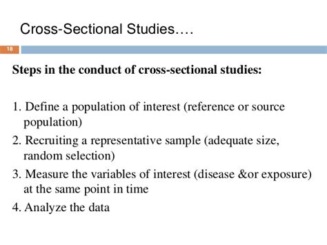 types of cross sectional studies study types