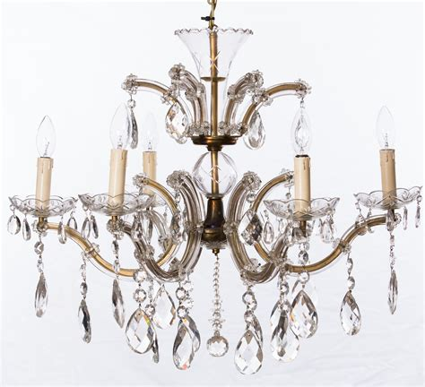 6 Arm Marie Therese With Large Clear Vintage Drops The Vintage Chandelier Company