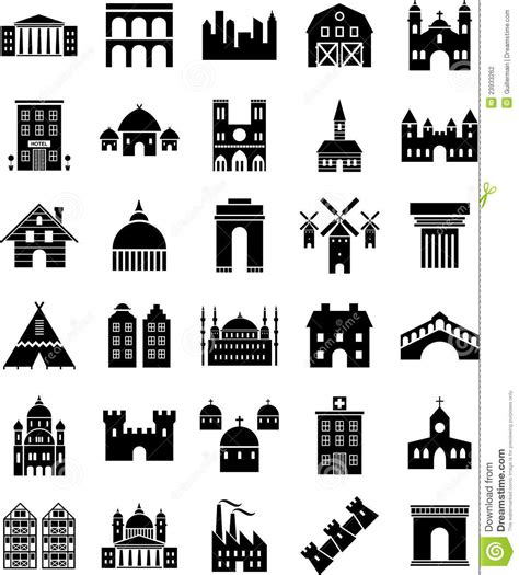 Gambrel Roof buildings icons stock photography image 23933262