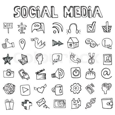 doodle service social media word and icons in doodle sketchy drawing