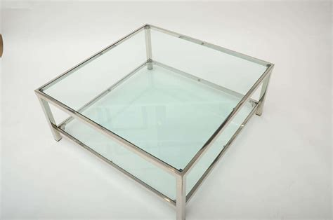 Glass Coffee Table Square Chrome And Glass Square Coffee Table At 1stdibs