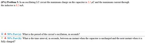 max charge on a capacitor lc circuit in an oscillating lc circuit the maximum charge on chegg