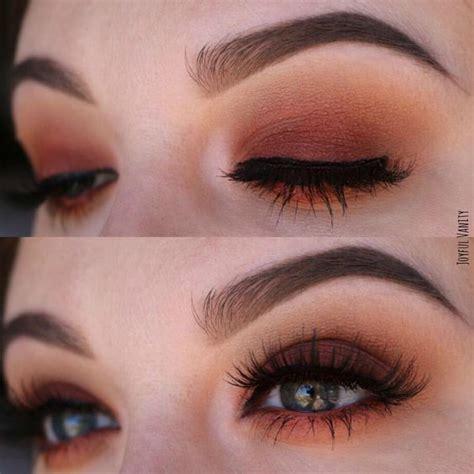fotd eotd yellow and warm brown smokey eye with red lips warm brown and orange tone smokey eye with modern