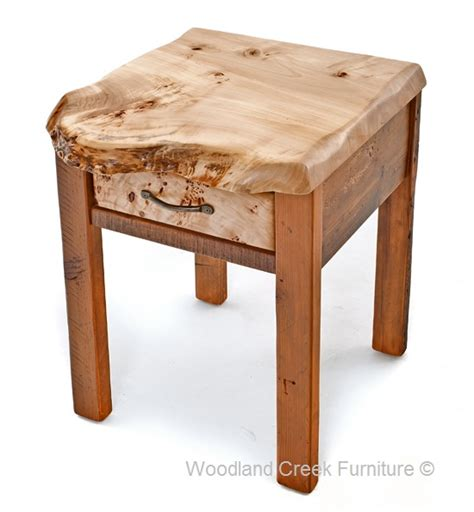 Barn wood end table with burl wood reclaimed side table