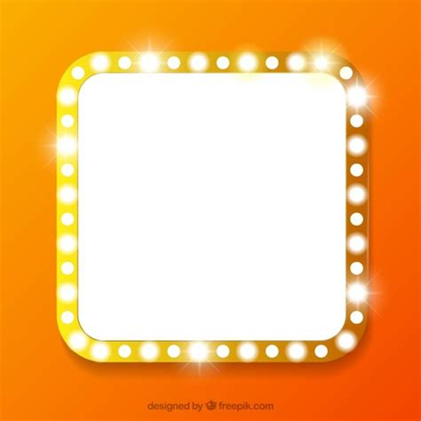 Mirror With Lights Around Square Banner With Lights Vector Free Download