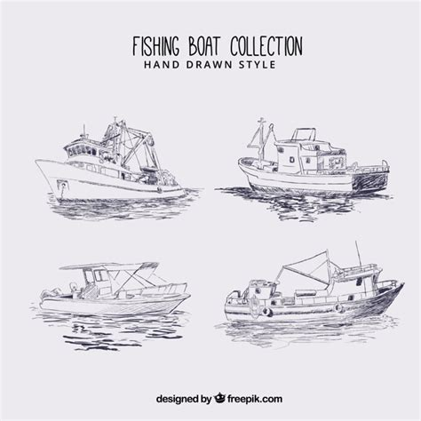 fishing boat sketch fishing boat sketches vector free download