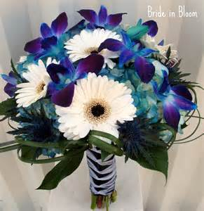 blue wedding bouquets in bloom blue orchid bridal bouquets
