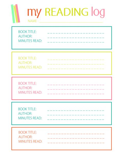 Daily Reading Journal Template by Printable Reading Log For Elementary