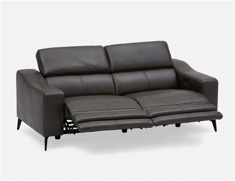 all leather reclining sofas seagram all leather power recliner sofa dark grey structube
