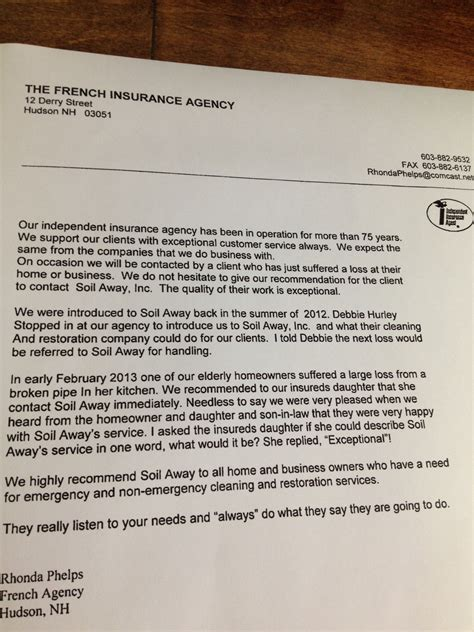 Insurance Referral Letter Insurance Agency Endorses Soil Away Soil Away Llc
