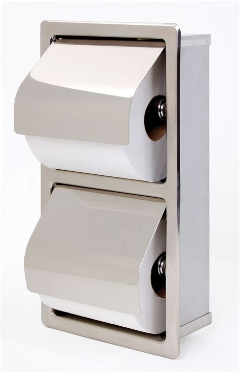 toilet paper dispenser recessed hinged hood stacking rolls toilet tissue