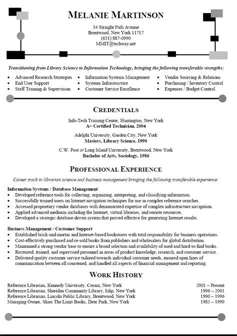 Career Change Resume Templates by Librarian Resume Transitioning Career To Information