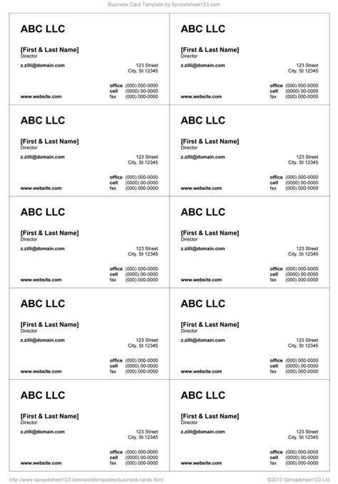 visiting card word template business card templates for word