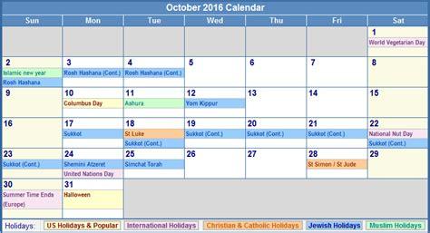 Calendar 2016 Holidays Canada October 2016 Calendar With Holidays Canada Weekly