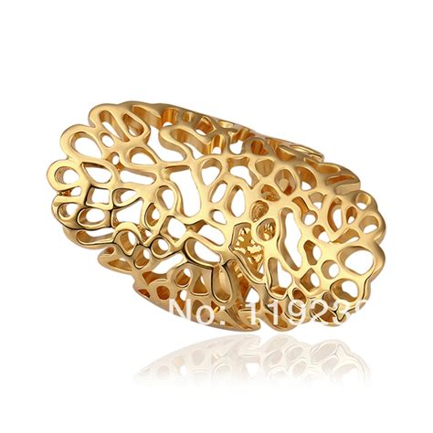 new pattern gold ring lr528 new 18k yellow gold plated retro vintage full finger
