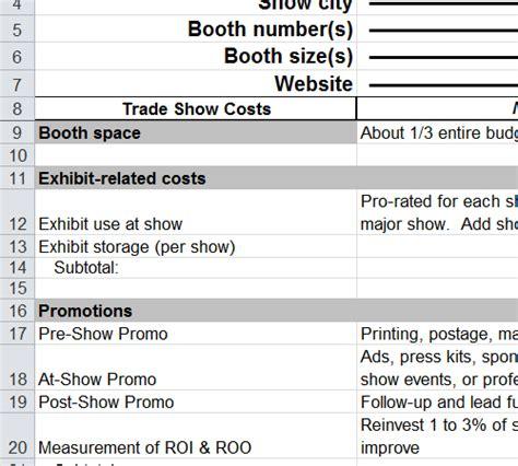 trade show budget template trade show budget template