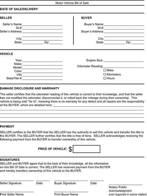 motor vehicle bill of sale word document motor vehicle bill of sale word document free bill of