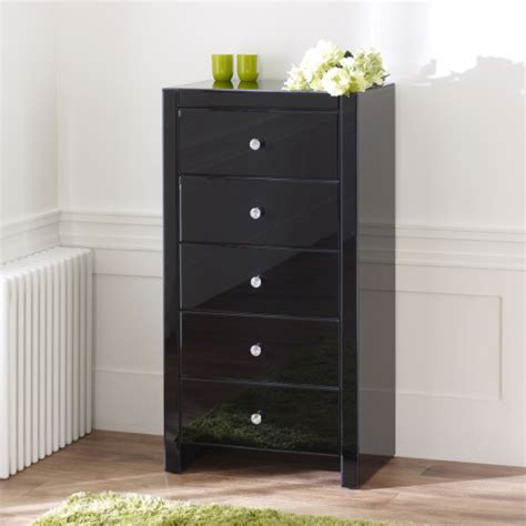 Black Mirrored Furniture by Venetian Black Glass 5 Drawer Tallboy Chest Of Drawers