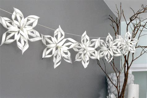 How To Make Paper Snowflake Chains - pdf recycled paper snowflake tutorial