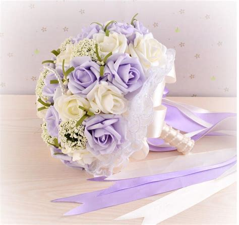 purple pink blue green wedding bouquet with pearls and