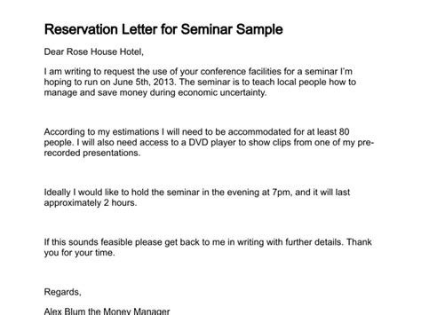 Reservation Letter For Conference Venue Letter Of Reservation