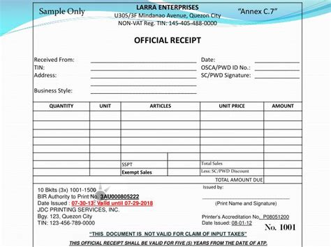 sle vat invoice philippines ppt this official receipt shall be valid for five 5