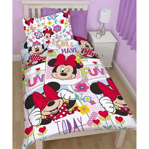 Minnie And Mickey Mouse Bedding Set Disney Mickey Or Minnie Mouse Single Duvet Cover Sets Bedroom Bedding Ebay