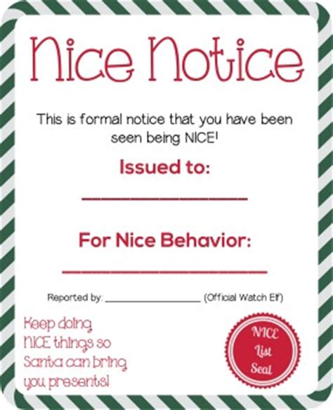 free printable elf on the shelf nice list elf on the shelf idea nice and naughty notice printable