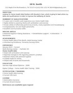 Health Sle Resume by Home Aide Cover Letter