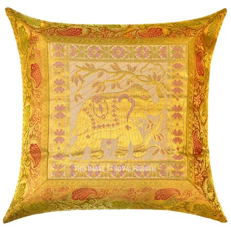 Brocade Pillows by Yellow Indian Elephant Silk Brocade Throw Pillow Cover