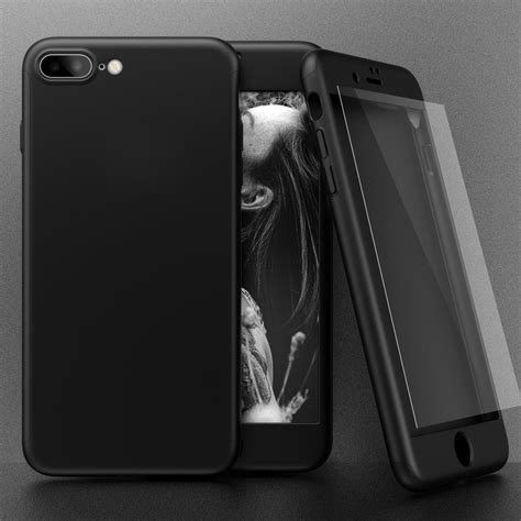 360 degree protection frosted cover with tempered glass for apple iphone 7 plus